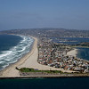 Aerial view of South Mission Beach, looking north to Pacific Beach, and La Jolla.