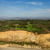 Spectacular aerial view of the Torrey Pines public golf course, on the bluffs of La Jolla overlooking the Pacific Ocean.