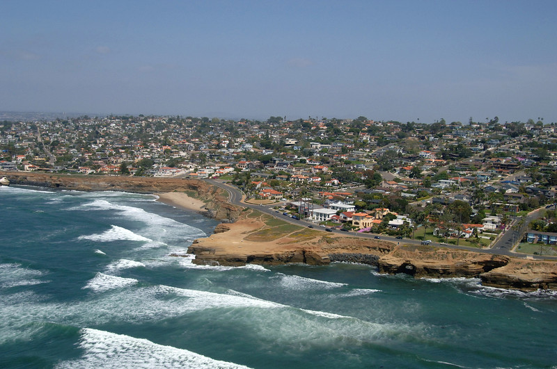 Aerial view of Sunset Cliffs and Point Loma, in San Diego