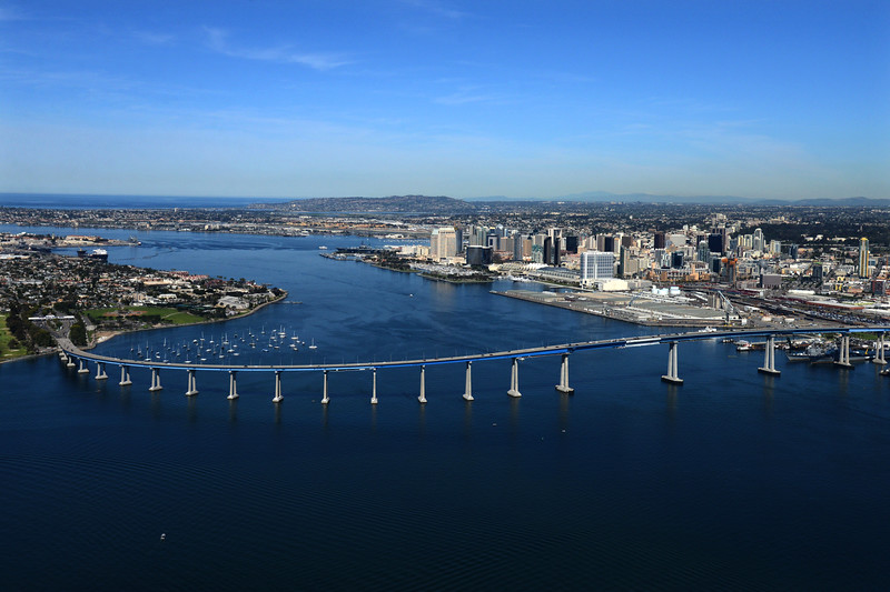 Aerial Photo of  San Diego Bay with the Coronado Bridge and downtown San Diego