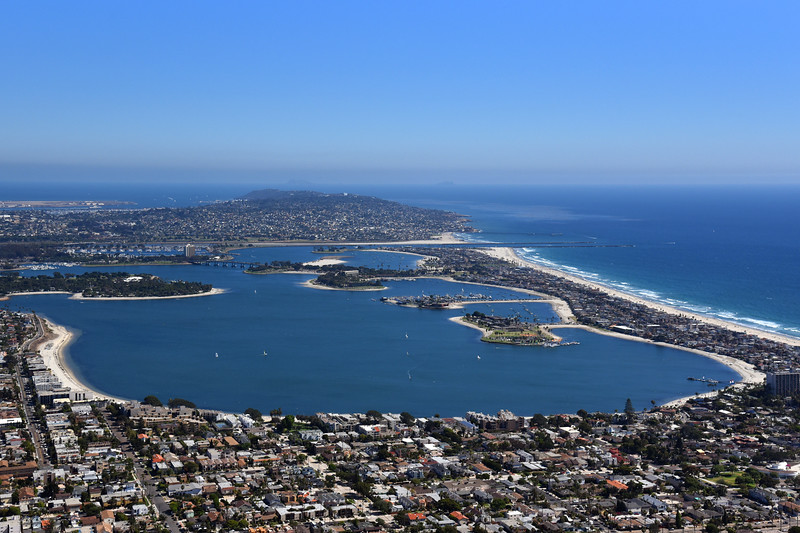 Aerial view of Mission Bay, looking south towards Point Loma.