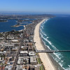 Aerial view of Pacific Beach,  looking  south from Crystal Pier to Point Loma.