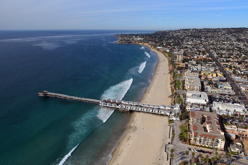 Aerial view of Crystal Pier and the Beach looking north towards La Jolla.