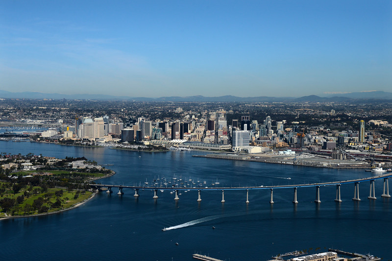 Aerial Photo of the Coronado Bridge with downtown San Diego