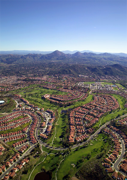 Aerial view of the Bernardo Heights Country Club and surrounding neighborhood, in Rancho Bernardo, California.