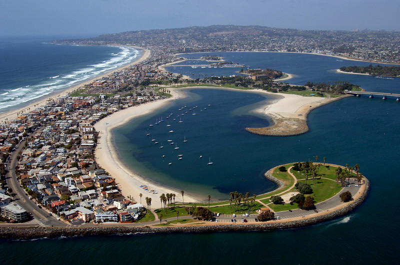 Aerial photo of Mission Bay, featuring Mission Point, Bonita Cove, and South Mission Beach in the foreground.