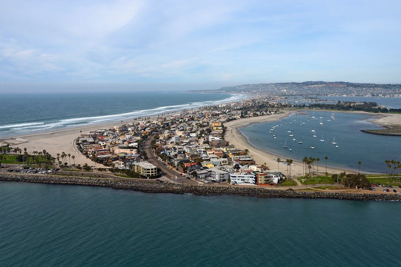 Aerial view looking north to  South Mission Beach, Mission Bay , Pacific Beach and La Jolla