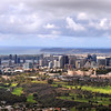 Aerial view of San Diego with the Balboa Park golf course and Navy Medical Center in the foreground.