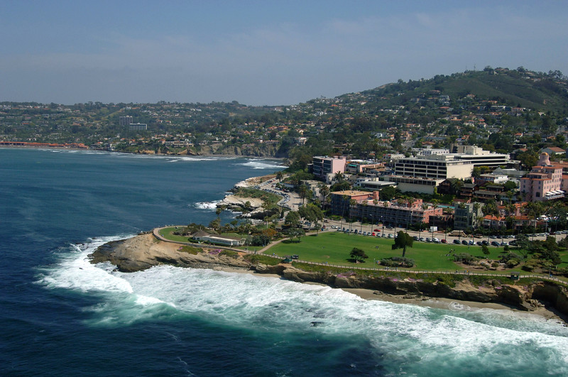 Scripps Park and La Jolla Cove seen from the air on a sunny Spring day.