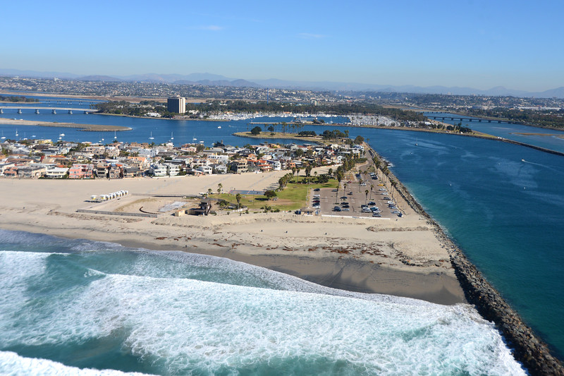 Aerial view of  South Mission Beach and jetty