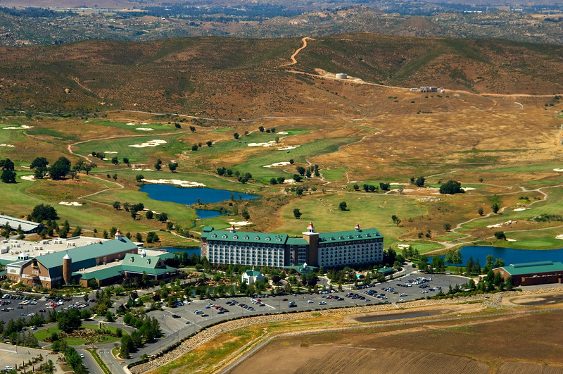 Aerial view of the Barona Casino and Golf Resort near San Diego, California.