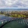 Aerial View of Coronado bridge and golf course in San Diego.