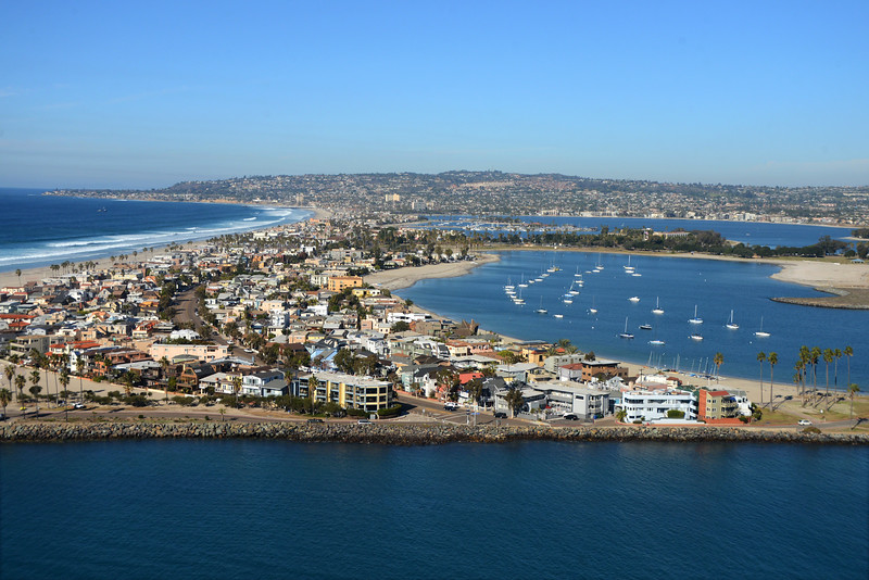 Aerial view looking north to Mission Beach , Mission Bay and La Jolla