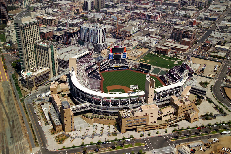 Aerial view of Petco Park, home of the San Diego Padres baseball team.