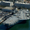 Closeup aerial view of the deck of the USS Midway floating museum in Ssn Diego, California.
