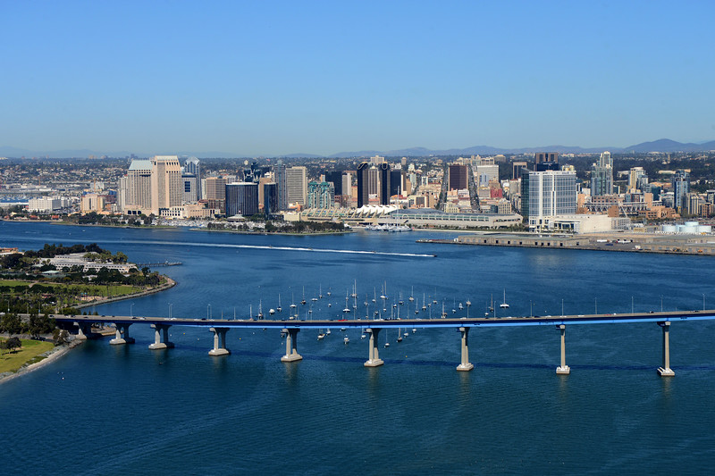 Aerial Photo of downtown San Diego with the bay and Coronado Bridge