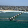 Aerial view of the Ocean Beach Pier and beach in  San Diego