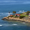 Aerial view of the light house at the tip of Point Loma, in San Diego.