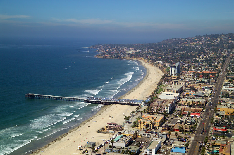 Aerial view of Crystal Pier and Pacific Beach in San Diego, California.