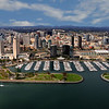 Aerial photo of San Diego, overlooking Embarcadero Park  with the convention center and downtown.