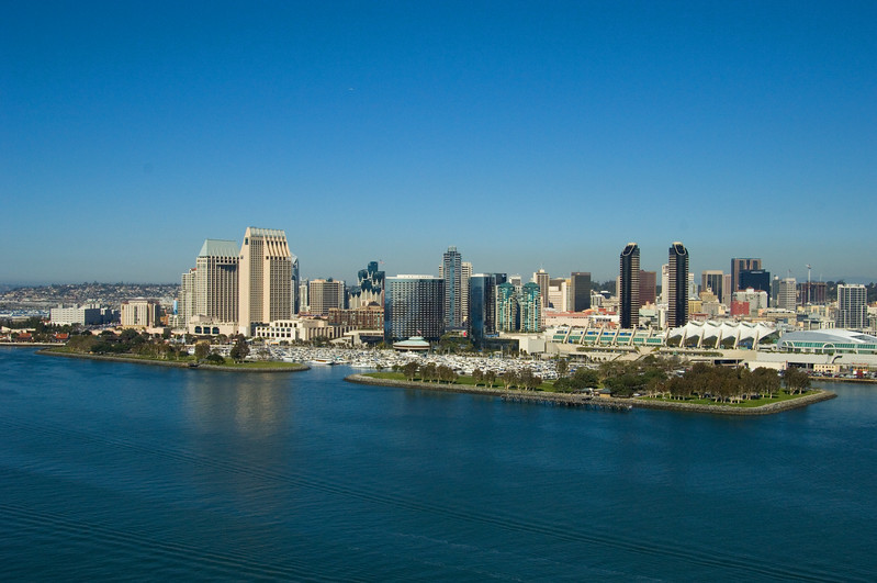 Aerial photograph of San Diego skyline and bay with convention center.