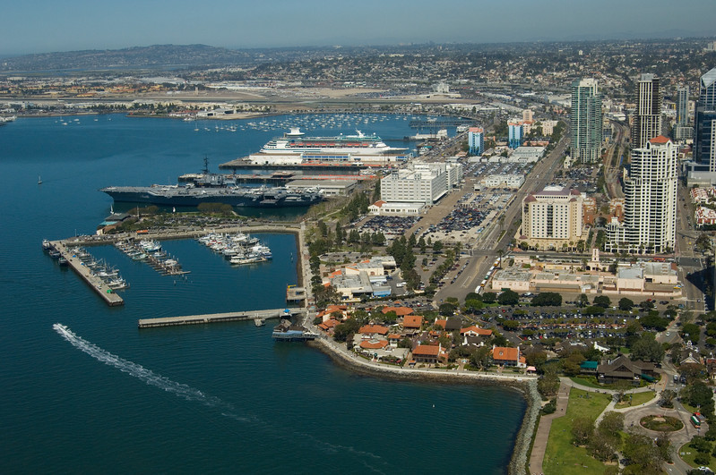 Aerial view of the San Diego embarcadero on a nice sunny day.
