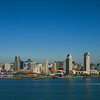 San Diego skyline as seen from a helicopter over San Diego Bay.