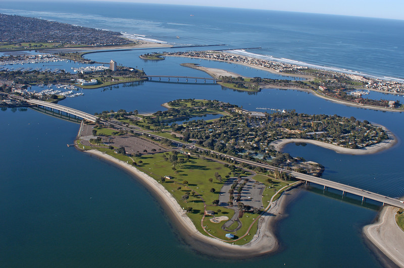Aerial view of Mission Bay Park in San Diego, California.