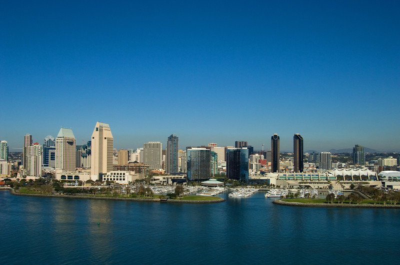 Aerial view of the San Diego skyline on a clear, sunny day.