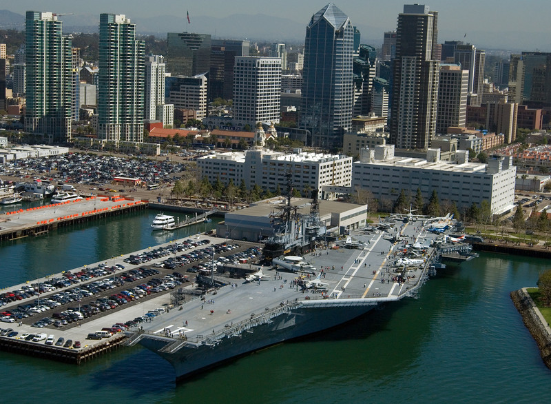 Aerial view of the USS Midway aircraft carrier museum, on the embarcadero in San Diego, California.