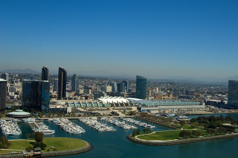 San Diego Convention Center and the Embarcadero Park and Marina as seen from the air.