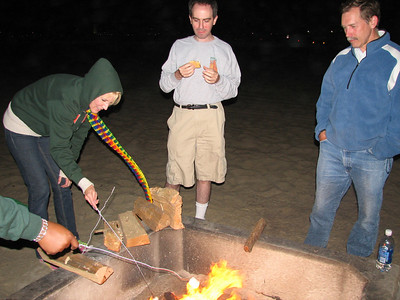Single adults group roasting marshmallows for smores at the beach