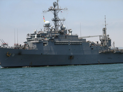 Naval vessel seen from Seaport Village - San Diego