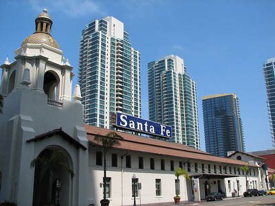 Downtown San Diego Santa Fe station and buildings