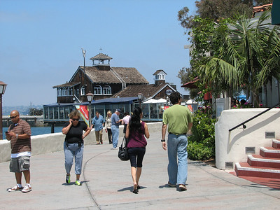 Seaport Village - San Diego. Walking along boardwalk.