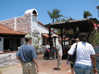 Single adult group gathering in Old Town San Diego for lunch at a Mexican Restaurant