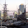 Submarine and Sailing ships exhibits in San Diego, California.