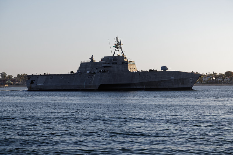 USS Jackson, a Littoral combat ship, an unusual ship with a trimaran hull, and sprint speed of 54mph.