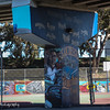 Street art covers the girders and playground, Chicano Park