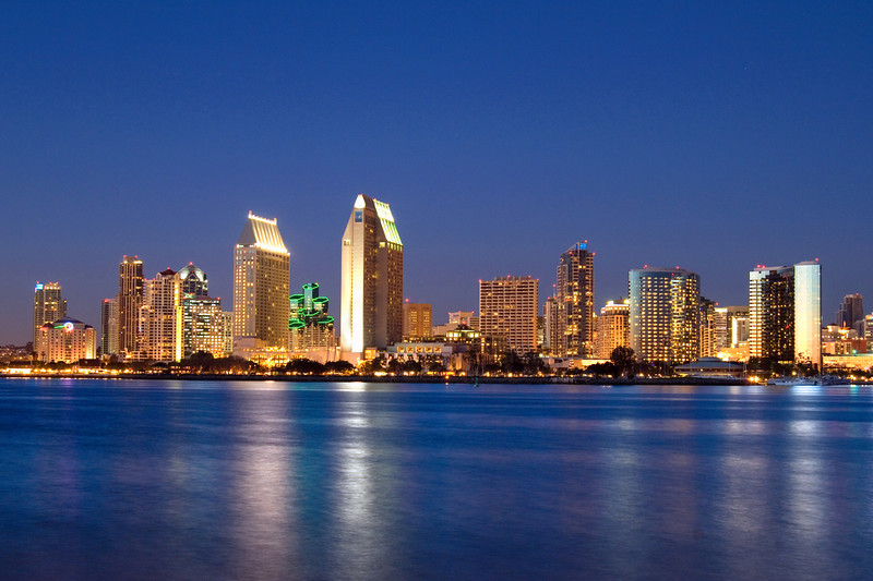 Night view of San Diego skyline from the Coronado Ferry Landing.