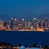 Night time view of the San Diego skyline from across the bay.