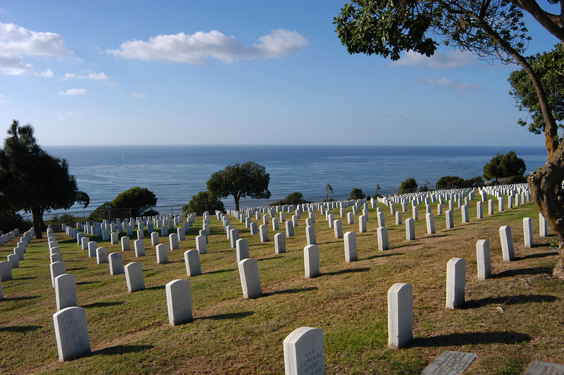 Fort Rosecrans National Cemetery overlooks the ocean at San Diego, California.