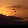 Hot air balloons over Del Mar at sunset on a beautiful California evening.