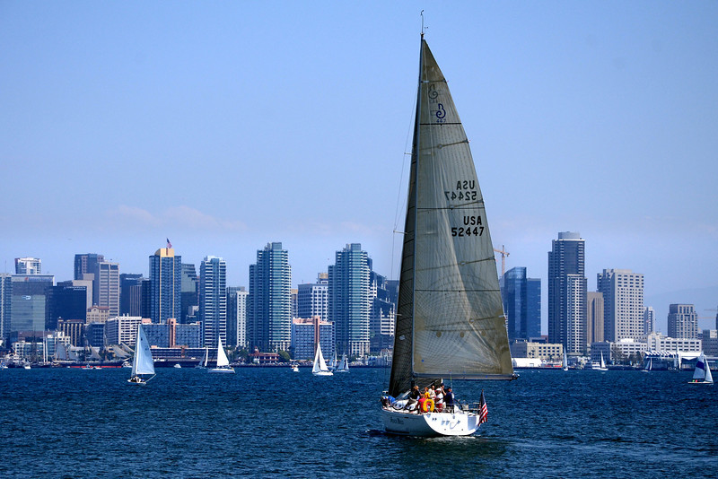 Sailing in San Diego Bay during the Festival of Sail weekend.