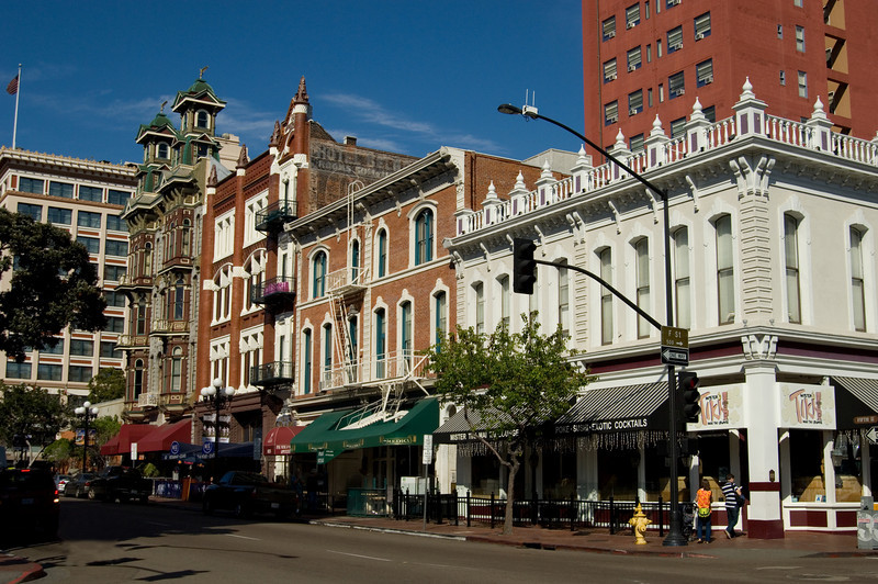 View from the corner of Fifth and F St. in the Gaslamp Quarter of downtown San Diego.