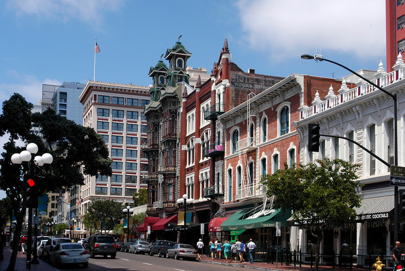 5th Avenue, lined with historic buildings, in the lively Gaslamp section of downtown San Diego, CA.
