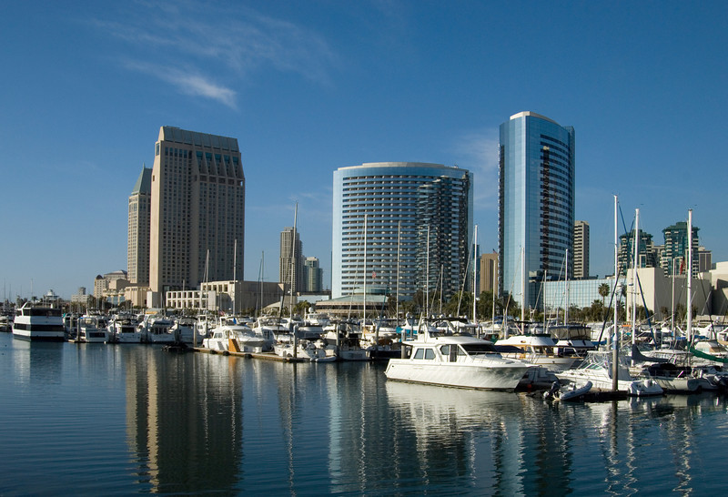 Waterfront hotels and boats on the bay in San Diego, California.