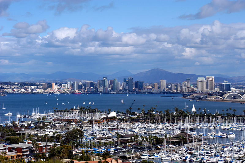 Beautiful San Diego Bay and skyline on a Saturday afternoon.