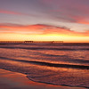 A colorful January sunset  with the Ocean Beach pier, in San Diego, CA.