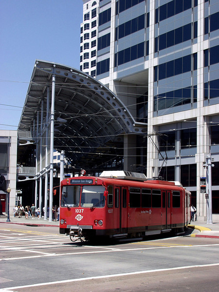 The San Diego trolley makes its way through downtown.